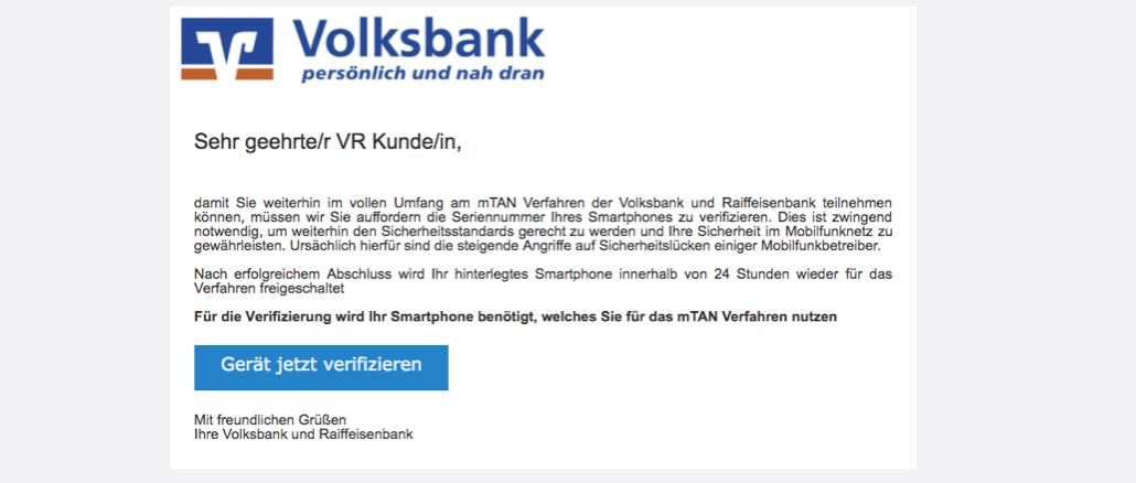 2017-03-25 Volksbank Phishing Smartphone bestätigen Handlungsbedarf
