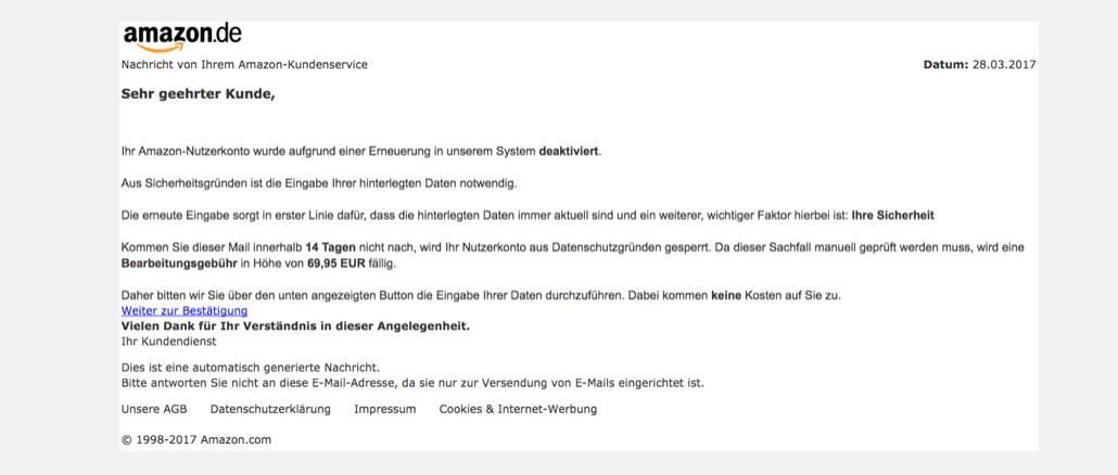 2017-03-28 Amazon Phishing Mail Konto deaktiviert