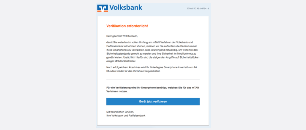 2017-04-04 Volksbank Spam Mail Smartphone mTan