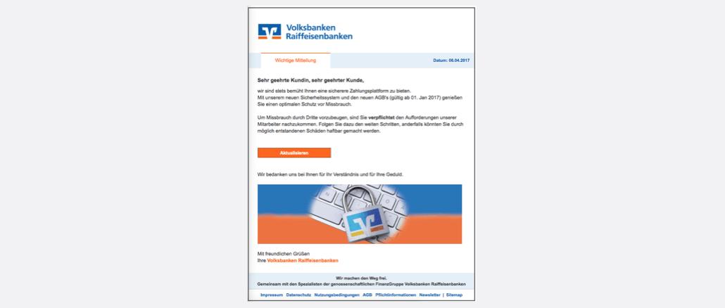 2017-04-07 Volksbank Spam Phishing Aktualisierung Ihres VR-Kontos