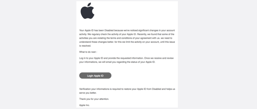 2017-04-16 Your Apple ID has been disabled Spam Phishing