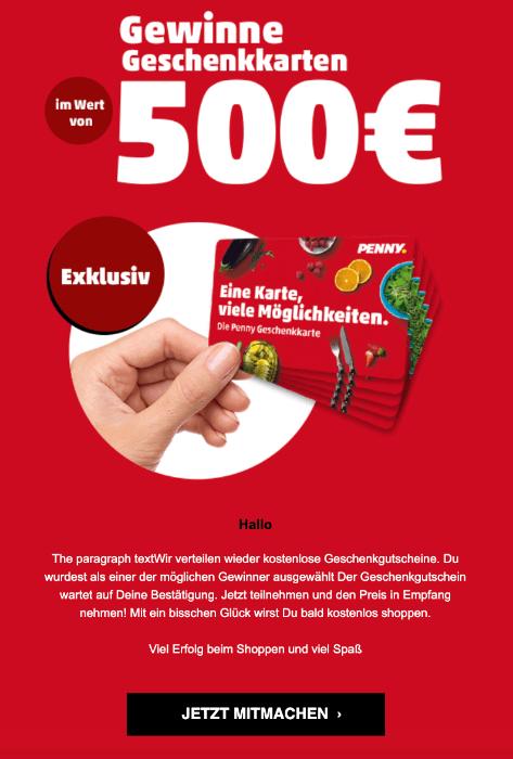 2019-09-29 Penny Geschenkkarte 500 Euro Spam-Mail
