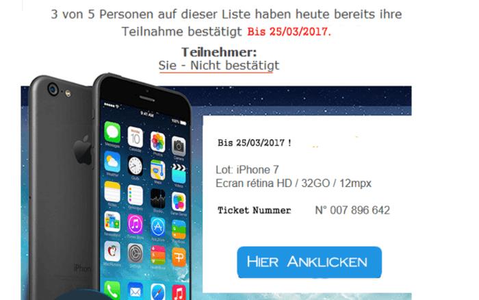 Abzocke Gewinnspiel iPhone 7