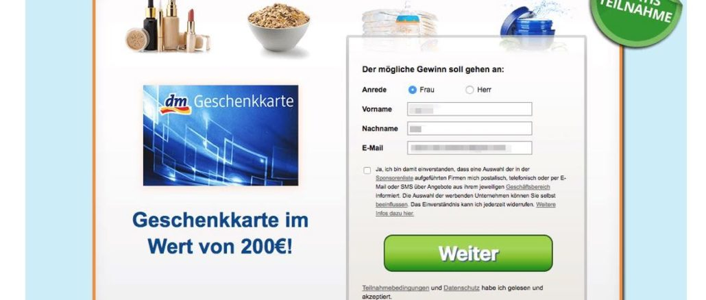 Achtung-E-Mail-dm-drogerie-markt-Gutschein-für-ist-Gewinnspiel-von-Datensammlern