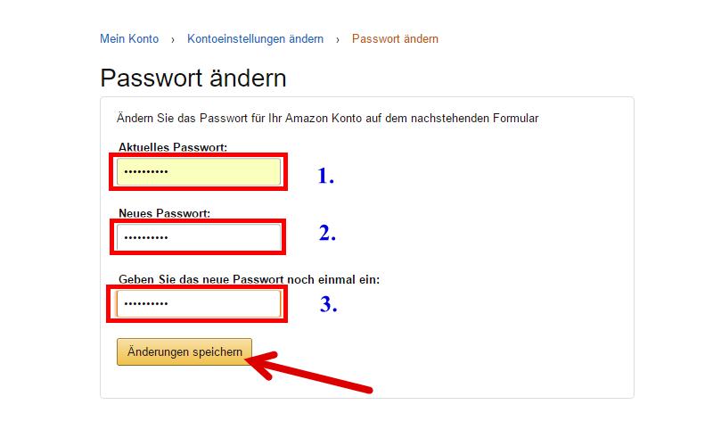Amazon Falsches Passwort