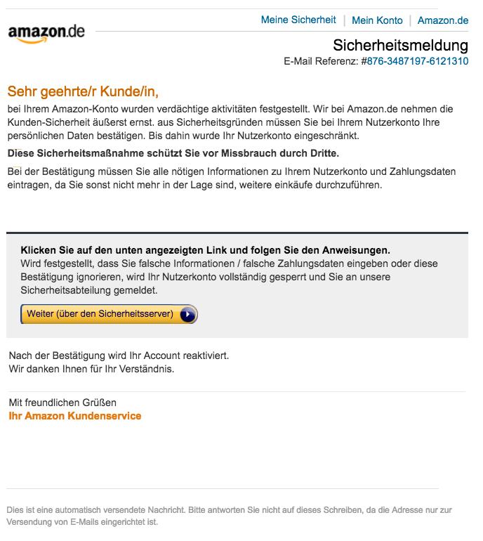 Amazon email Spam Sicherheitsmeldung