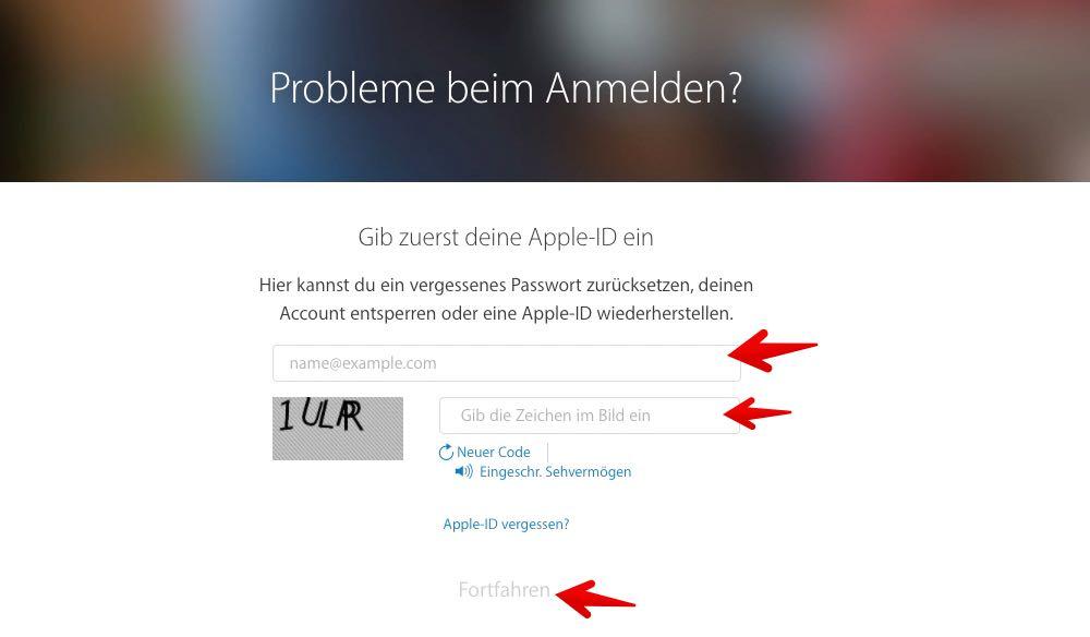 apple pw vergessen