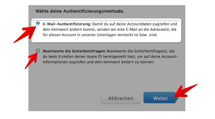 apple id passwort reset
