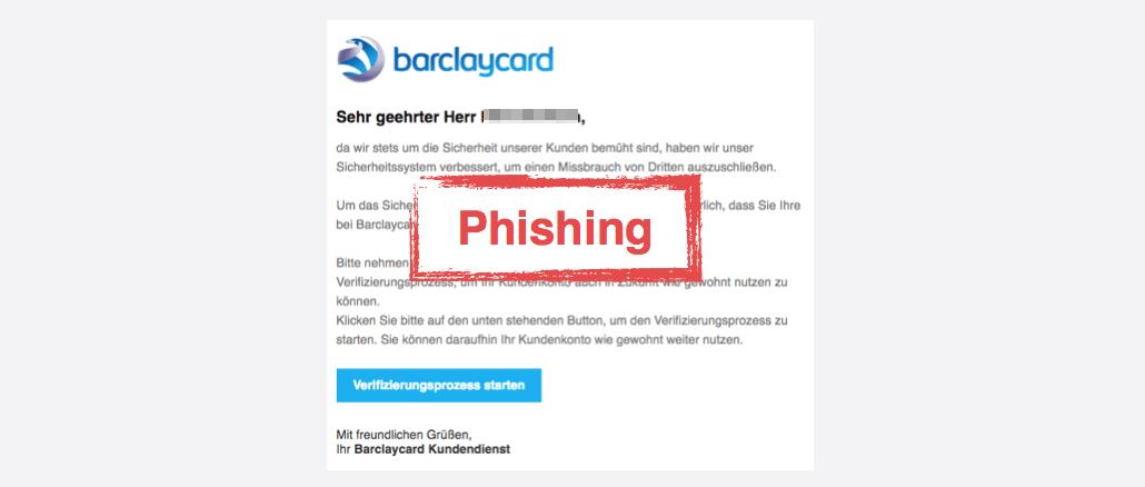 Barclaycard Spam-Mail Nachricht von Ihrem Kundendienst