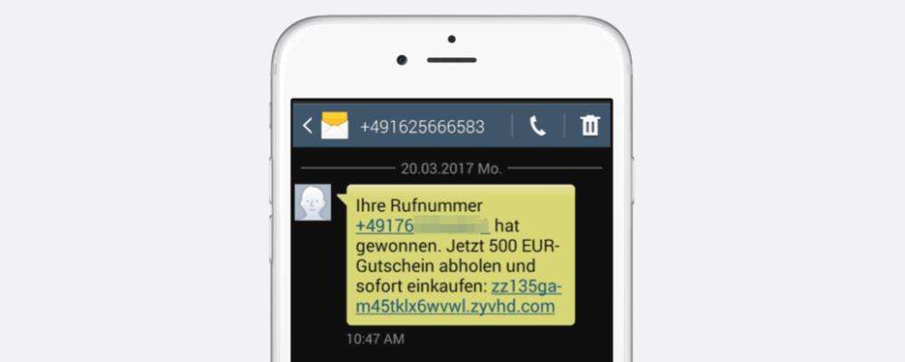 Gewinn-SMS sind Betrug: Ihre Rufnummer hat gewonnen