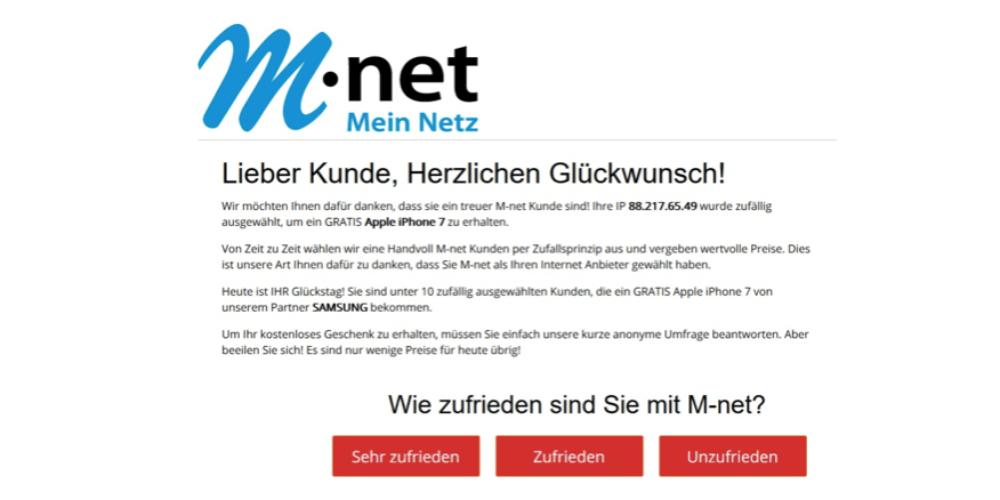 Hier wird der Internetprovider M-Net vorgeschoben. Auch der hat mit dieser Aktion nichts zu tun. (Screenshot)