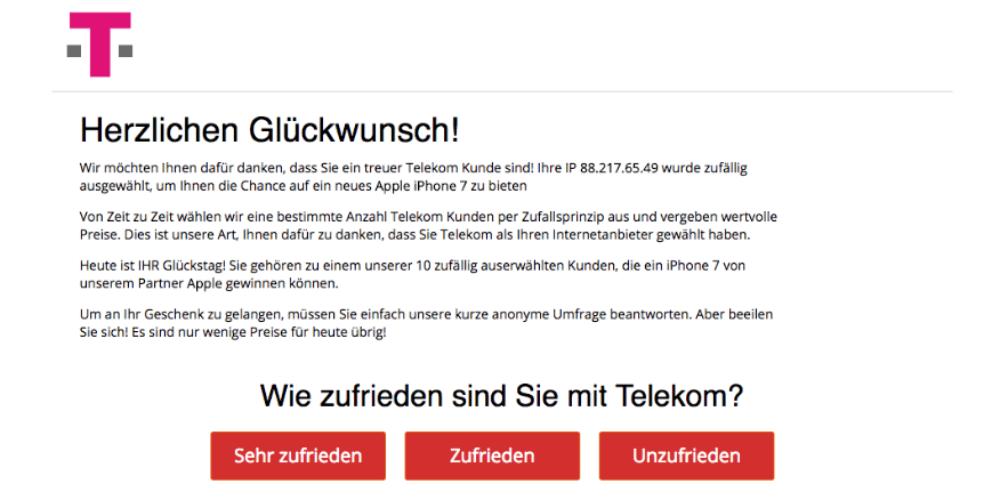 Mit diesem Fenster soll der Eindruck erweckt werden, dass die Nachricht von der Deutschen Telekom AG stammt. Fallen Sie auf den Betrug nicht herein. Mit dieser Benachrichtigung hat die Telekom nichts zu tun. (Screenshot)