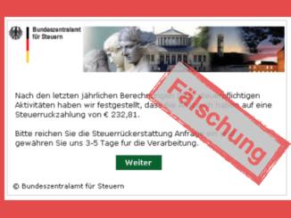 Bundeszentralamt Steuern Phishing Mail Spam