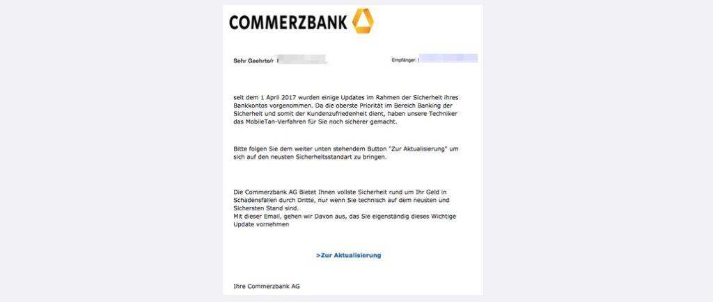 Commerzbank Spam Phishing Kunden Aktualisierung erforderlich