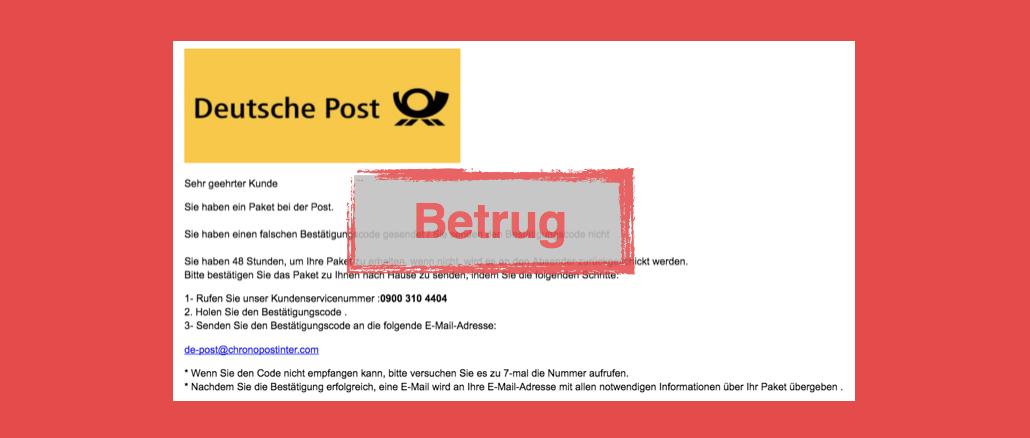 Deutsche Post Spam Betrug Abzocke 0900