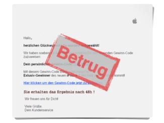 E-Mail Gewinnspiel Apple iPhone Betrug