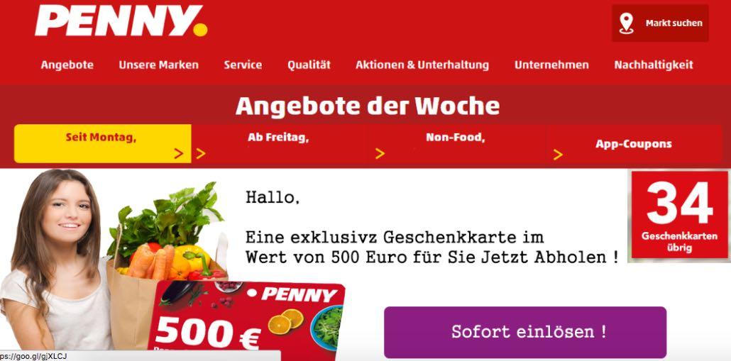 E-Mail mit 500 Euro Penny Geschenkkarte