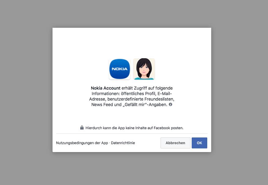 Facebook Anfrage Datenzugriff