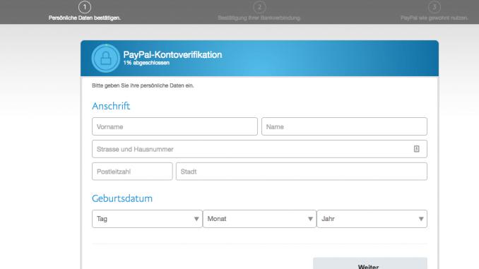 Fake PayPal-Kontoverifikation Phishing