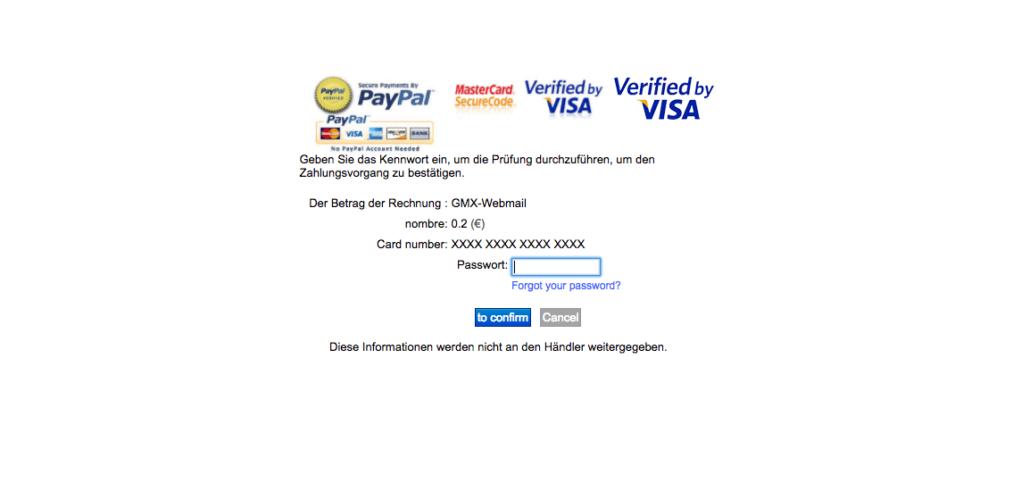 Auf dieser Seite sollen Sie noch ein Passwort eingeben. (Screenshot)