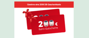 Gewinnspiel 200 Euro Bahn-Gutschein