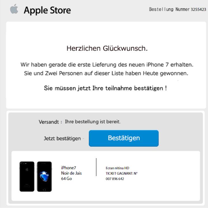warnung iphone gewinnspiel e mail im namen von apple store ist betrug. Black Bedroom Furniture Sets. Home Design Ideas