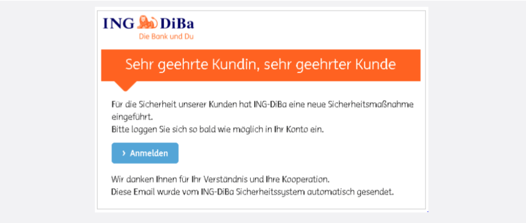 Ing-DiBa Spam Phishing Zu Ihrer Sicherheit