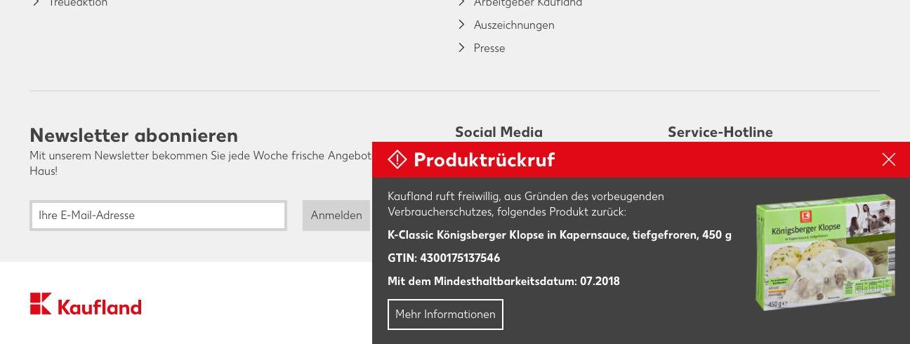 Kaufland Rückruf: Salmonellen in K-Classic Königsberger Klopse