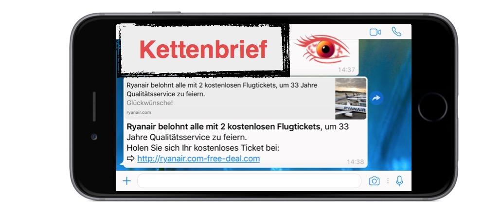 Ryanair WhatsApp Kettenbrief: 33 Jahre Qualitätsservice mit gratis ...
