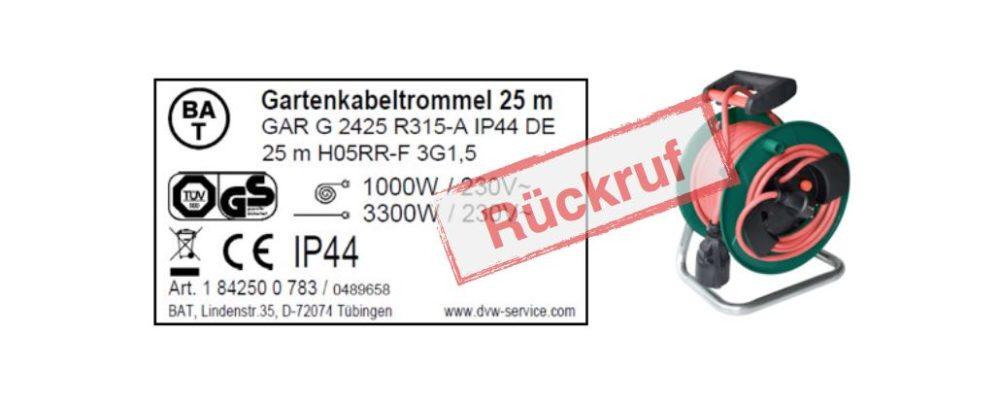 Netto: Rückruf der Gartenkabeltrommel Outdoor 25 Meter der Hugo Brennenstuhl GmbH & Co. KG