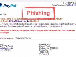 PayPal Phishing Einkauf Onlineshop