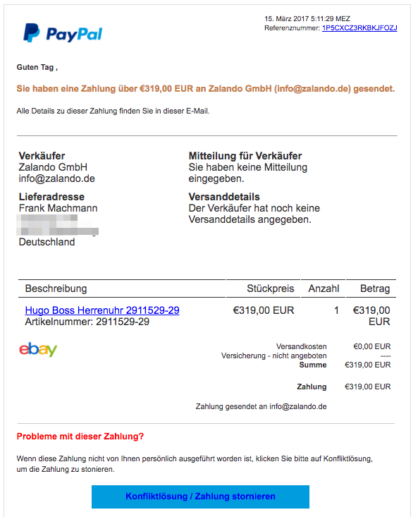 paypal phishing sie haben eine zahlung ber 239 95 eur an zalando gmbh update. Black Bedroom Furniture Sets. Home Design Ideas