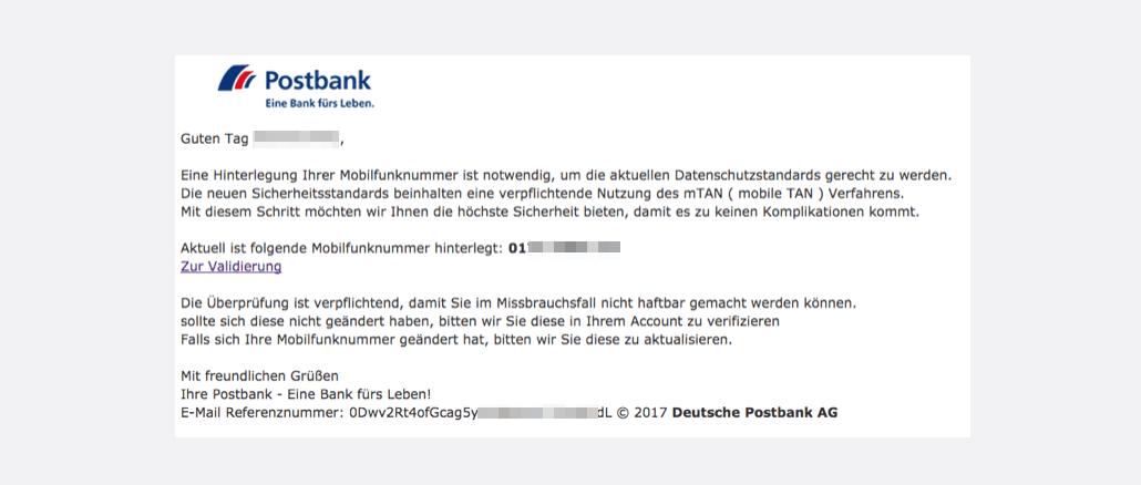 Postbank Spam Mail Postbank - Neue Mitteilung