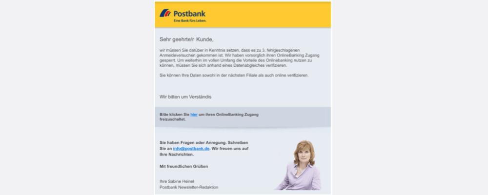 "Postbank Spam: E-Mail ""Kontofьhrung – EU Richtlinie 640b."" ist Phishing"