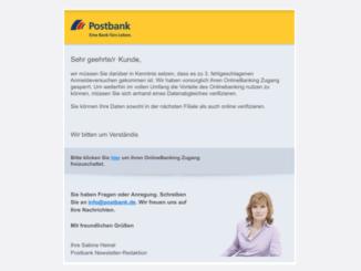 Postbank Spam Phishing Sicherheit bei Postbank Verifizierung erforderlich