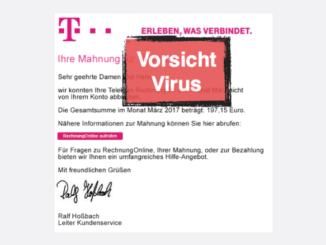 Telekom Mahnung Virus Spam