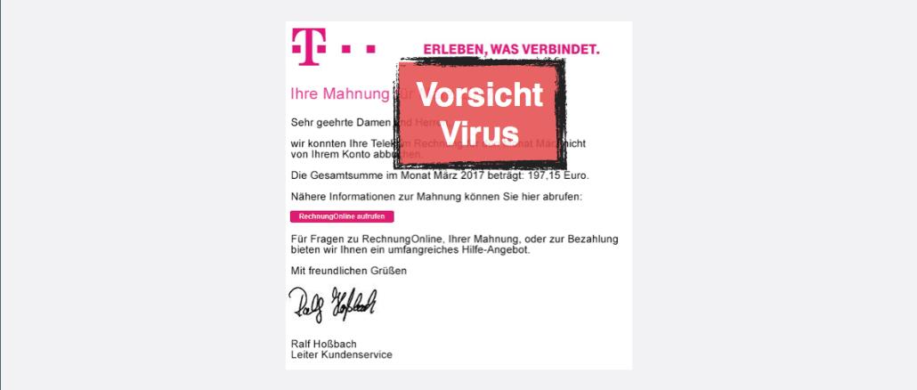 Deutsche Telekom Ihre Telekom Mahnung März 2017 Enthält Virus