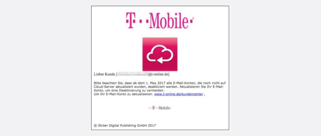 Telekom T-Mobile: E-Mail Konto Kündigung ist Phishing