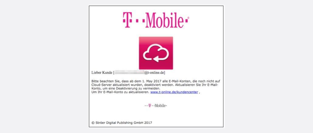 Telekom T-Mobile Spam Phishing EMAIL DEAKTIVIERUNGSHINWEISE