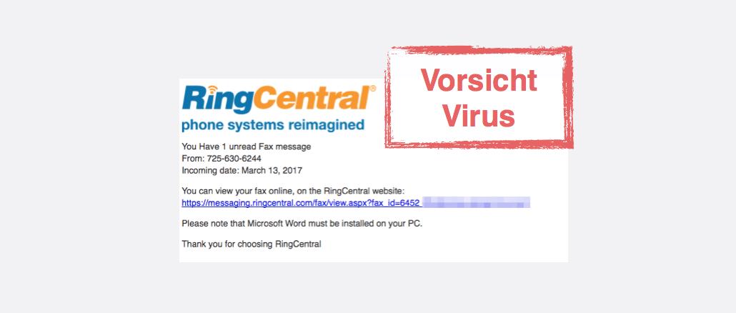 Viruswarnung RingCentral Faxnachricht