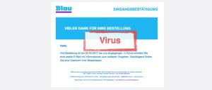 Viruswarnung blau.de Vielen Dank für Ihre Bestellung