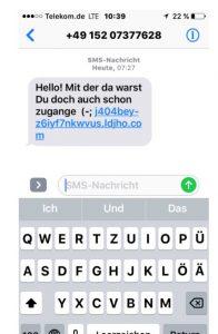 """Vorsicht bei SMS: """"Hello! Mit der da warst Du doch auch schon zugange"""" - nicht anklicken"""
