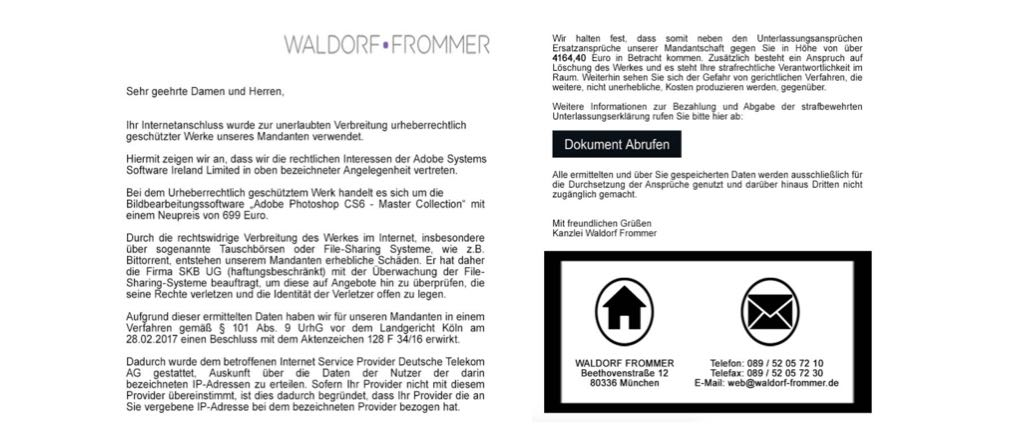 Waldorf Frommer Auszug E-Mail