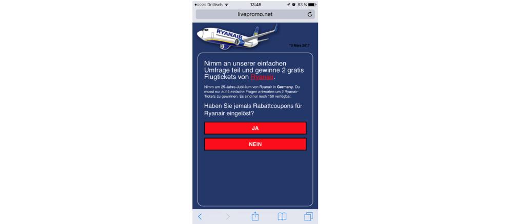 WhatsApp Kettenbrief Ryanair Frage 3
