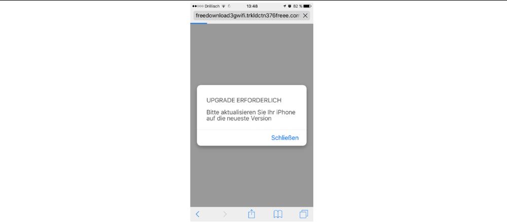 Abhängig von dem verwendeten Gerät, passieren nun unterschiedliche Dinge. Auf dem iPhone wird plötzlich angezeigt, dass ein Update nötig ist.