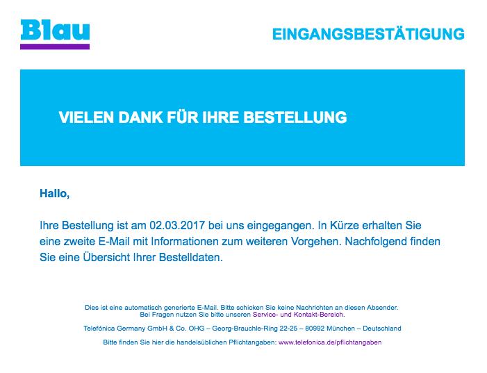 blau.de Vielen Dank für Ihre Bestellung