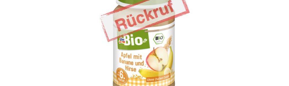 dm ruft Babybrei  dmBio Apfel mit Banane und Hirse zurück – Gluten enthalten