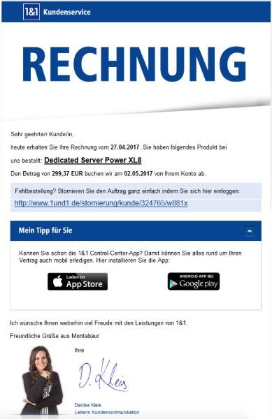 1und1 Rechnung Phishing-Angriff - Wichtig- Ihre Bestellung vom