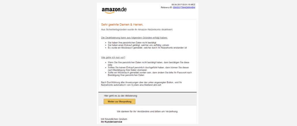 2017-04-07 Amazon Phishing Unbefugter Zugriff auf Ihr Konto