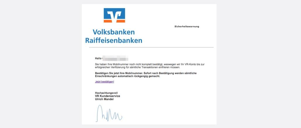 2017-04-09 Volksbank Spam Phishing Mobilfunknummer